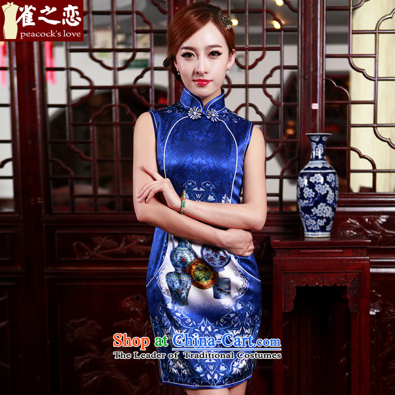 Love of birds-curtain Breeze?2015 Spring New improved stylish short silk cheongsam dress_ female QD498 BLUE?S