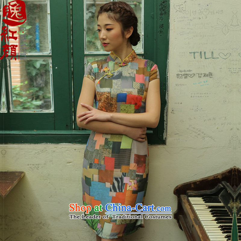 The elections as soon as possible in the event of a multimedia message Yat lady stamp improved cheongsam dress new cheongsam dress summer retro style yellow�S