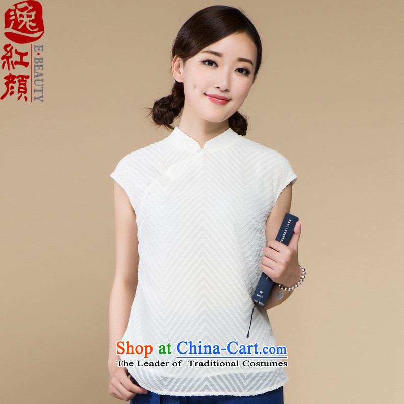 【 Yat lady health Snow Flower stylish Sau San breathable lint-free chiffon shirt without sleeves, thin and light summer Tang blouses white?L