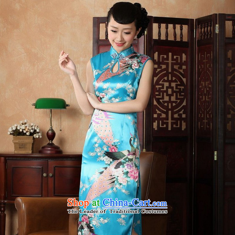 Yet women's floor building new summer in Ms. long collar stamp Chinese qipao large improved Tang dynasty female lake��5,100 MEDIUM BLUE