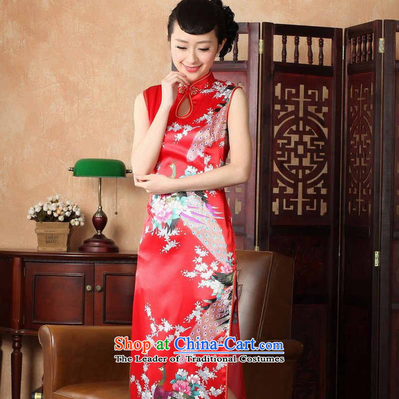 Yet women's floor building new summer Ms. collar sleeveless stamp in the medium to long term improvement of Chinese antique dresses Tang dynasty women?5116 Red?2XL/40