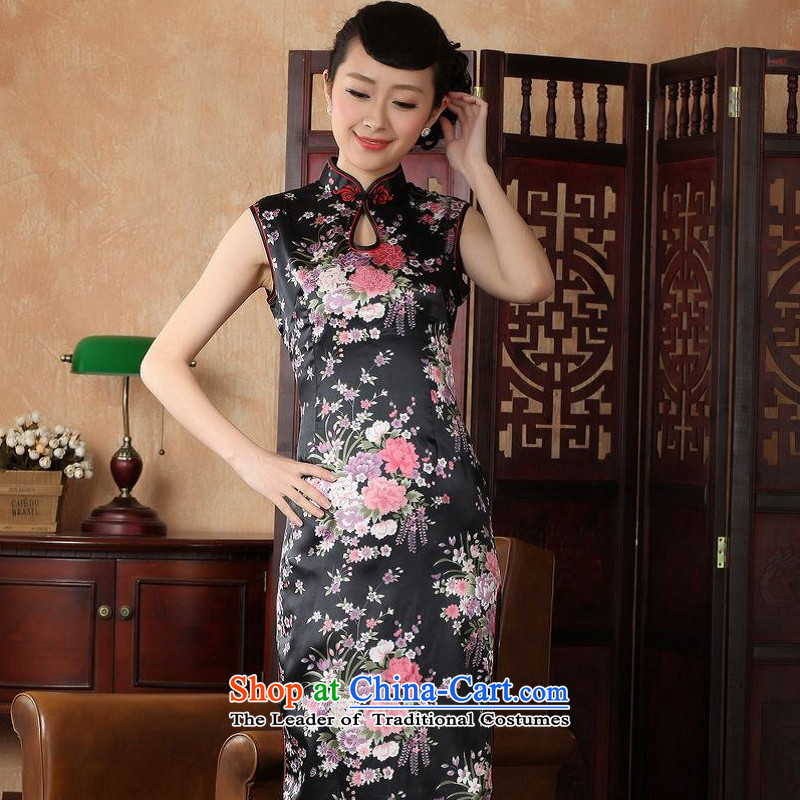 Yet women's floor building new summer Ms. collar sleeveless in long hand-painted improved Chinese Antique larger qipao Tang Dynasty Show Services?J5113 female black?XL/38