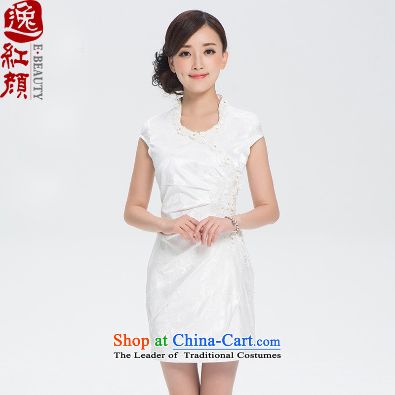 The elections as soon as possible the Cayman Amaral Yat archaeologist makes�3 Color China wind summer women of ethnic embroidery improved daily cheongsam dress White�XL