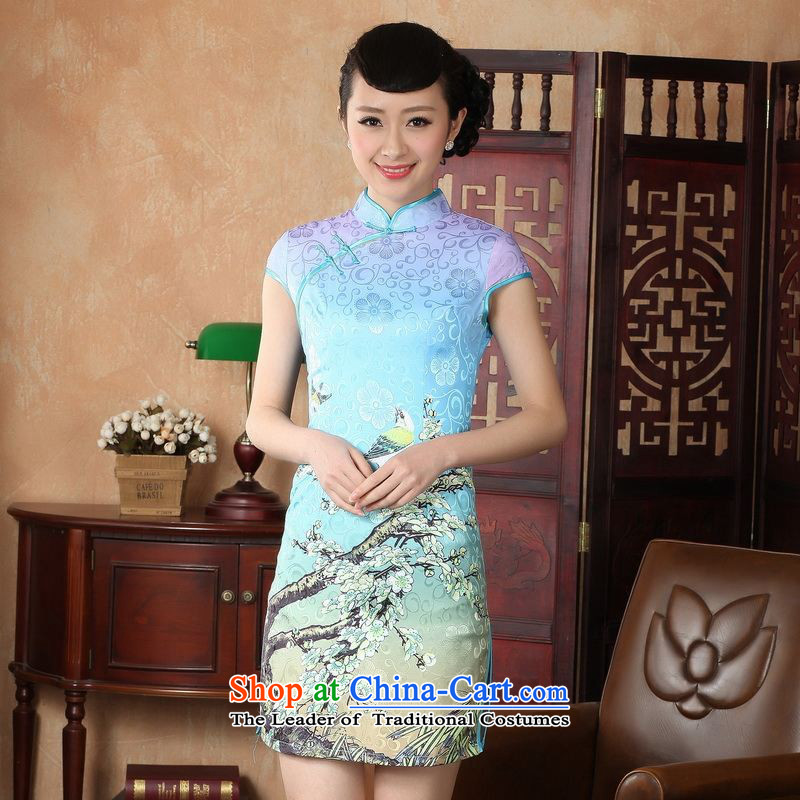Yet women's floor building new summer Ms. Short-Sleeve Mock-Neck Tray Tie China wind Chinese improved hand-painted large retro cheongsam dress suit Female Tang dynasty?blue?S/32 -A lake