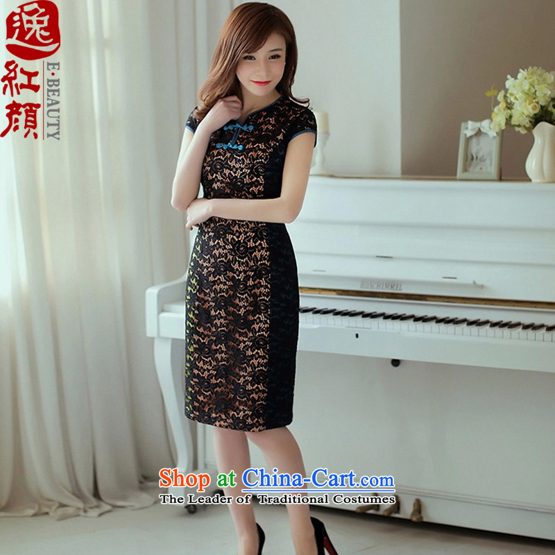 A Pinwheel Without Wind Core Wah Yat lace retro look like dresses China wind?2015 Summer new women's national wind suit?S