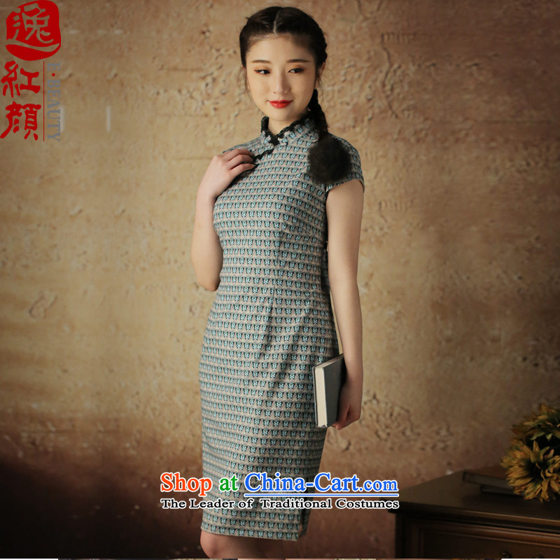 A Pinwheel Without Wind Dieyi retro Yat new cheongsam dress cheongsam dress for summer 2015 improved daily Sau San green聽S