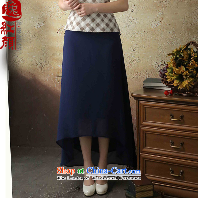 【 Yat- long smoke lady autumn 2015 new stylish body long skirt thin breathability and comfort women skirts chiffon blue?L