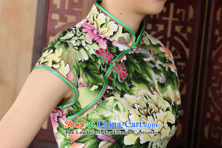 Yet women's floor building new summer Short-Sleeve Mock-Neck retro Chinese hand-painted improved large cheongsam dress suit Female Tang dynasty -A GREEN 2XL/40 picture, prices, brand platters! The elections are supplied in the national character of distribution, so action, buy now enjoy more preferential! As soon as possible.