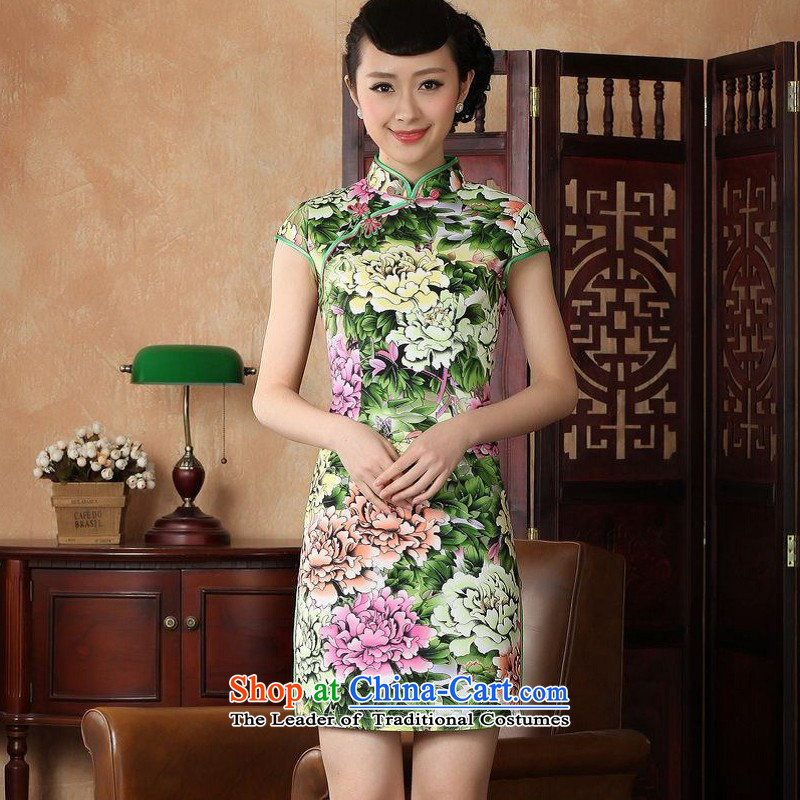 Yet women's floor building new summer Short-Sleeve Mock-Neck retro Chinese hand-painted improved large cheongsam dress suit Female Tang dynasty -A GREEN 2XL/40