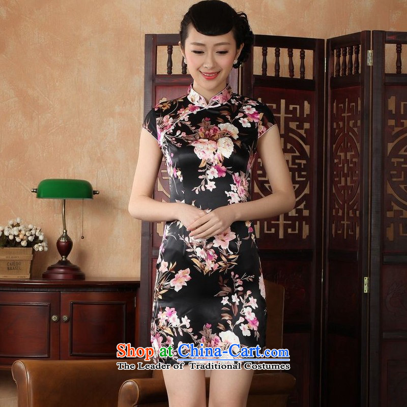 Yet women's floor building new summer Ms. Short-Sleeve Mock-Neck tray clip retro hand-painted Chinese Improved large qipao gown�J5134-a Tang dynasty female black�2XL/40