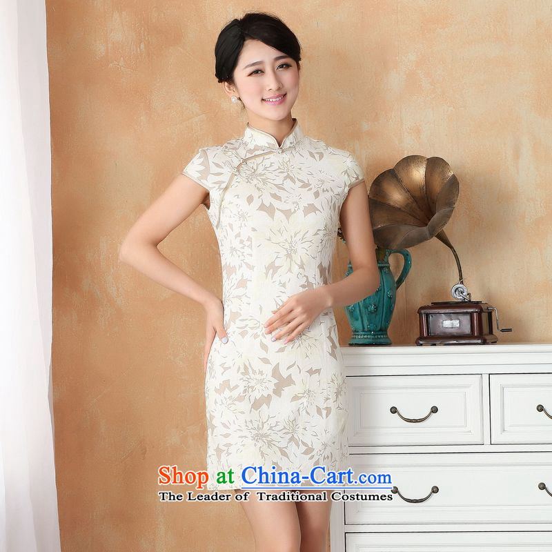 158 Jing qipao summer improved retro dresses cotton linen collar hand-painted Chinese cheongsam dress short of improved?2391 - 4 white?PUERTORRICANS recommendations 85-95 catties)