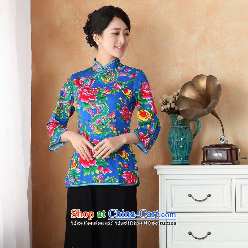 Ms. Li Jing Tong Women's clothes summer shirt collar is pressed to pure cotton Chinese Women's improved stamp improvements in Tang Dynasty Cuff - 2 Blue M recommendations 2362 741 catties)