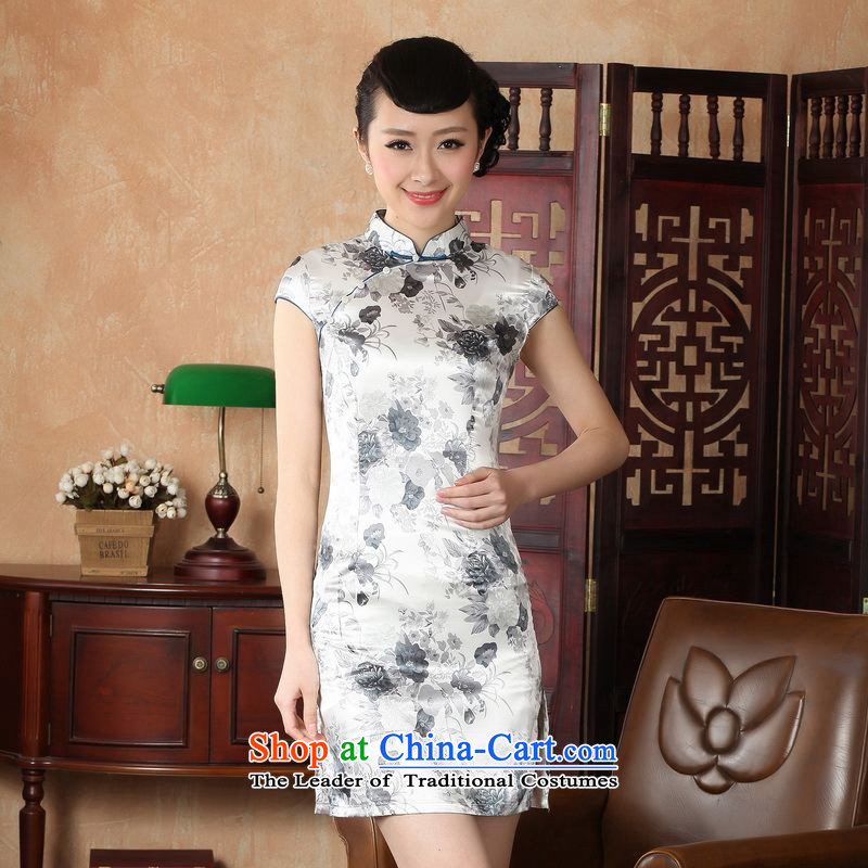158 Jing qipao summer improved retro Dresses Need collar badges of hand-painted silk cheongsam dress short Chinese improvement of?gray?M RECOMMENDATIONS DQ1002 J5139 100-110 catties)