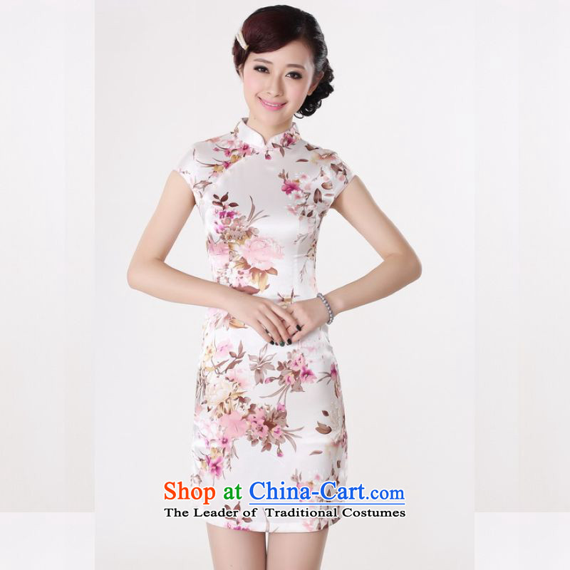 158 Jing qipao summer improved retro Dresses Need collar badges of hand-painted silk cheongsam dress short Chinese improvement of��PUERTORRICANS recommendations 85-95 DQ1001 white coal)