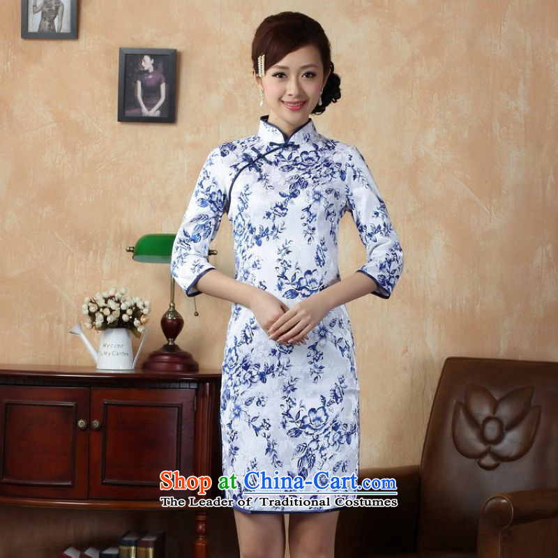 158 Jing qipao summer improved retro Dresses Need collar badges of hand-painted Chinese cheongsam dress in the improvement in the Cuff Long?White?M recommendations 0020 100-110 catties_