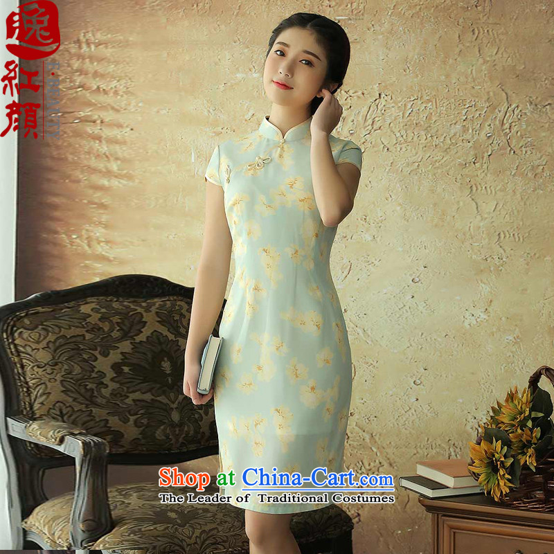 ? Yat lady- Ewha improved Mock-neck stamp cheongsam dress retro summer China wind stylish short-sleeved qipao light yellow�M
