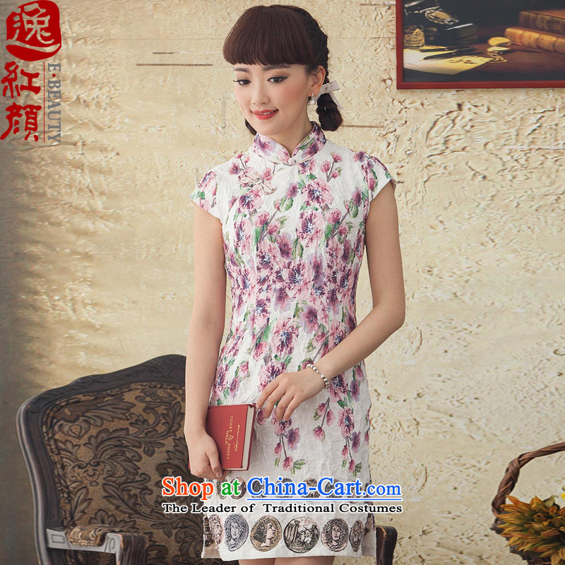 A Pinwheel Without Wind the lock Yat chun kee retro new cheongsam dress cheongsam dress improvements for summer daily fashion pink聽XL