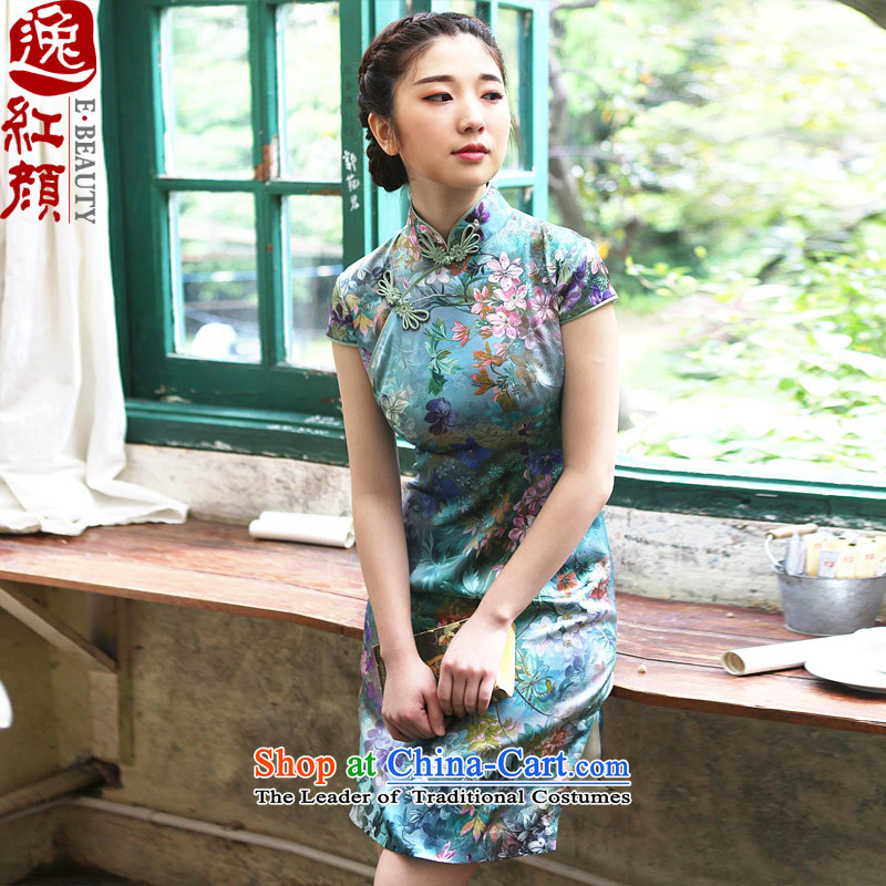 A Pinwheel Without Wind come mute better Yat silk cheongsam dress retro summer daily fashion improved skirt qipao green聽XL