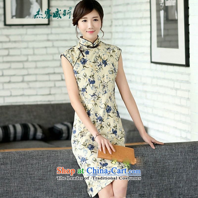 In the new kit of Chinese literature and fan summer improvements linen daily cotton linen dresses sleeveless stamp cheongsam dress?CQP017?Sleeveless Zi 0836?S