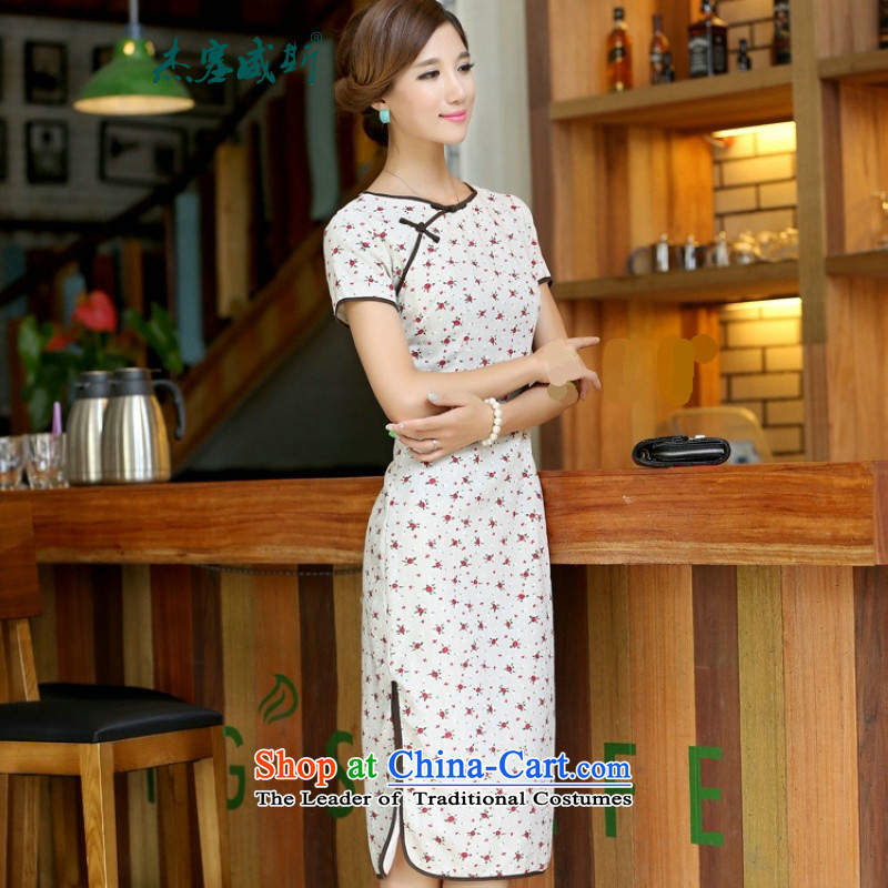 In Wiesbaden, Cheng Kejie new national little rose long neck short-sleeved detained manually   improved stylish cotton linen cheongsam dress�CIC308�Little Rose round-neck collar�XL
