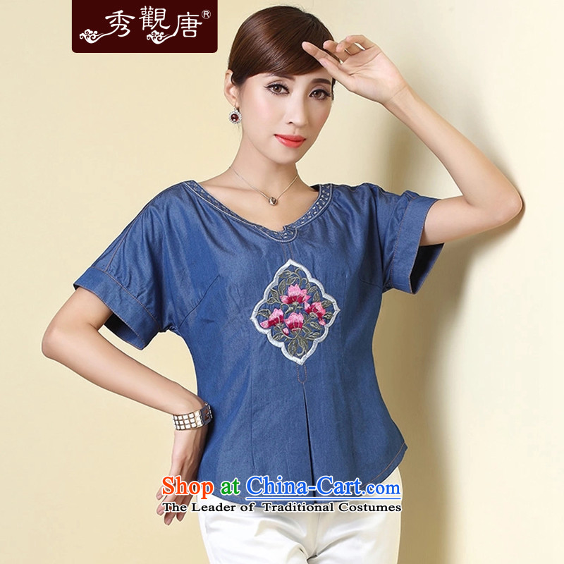 [Sau Kwun Tong] to the rhythm of the 2014 Summer new short-sleeved T-shirt embroidery Ms. ethnic Tang dynasty TD4324 DARK BLUE?XXL