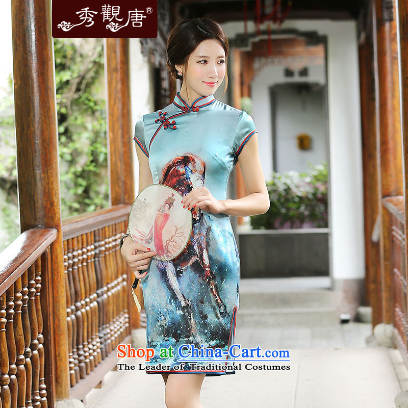 -Sau Kwun Tong- Priority Club 2015 Summer Creek new retro Silk Cheongsam the forklift truck stylish cheongsam dress QD4522 stamp Cyan?XL