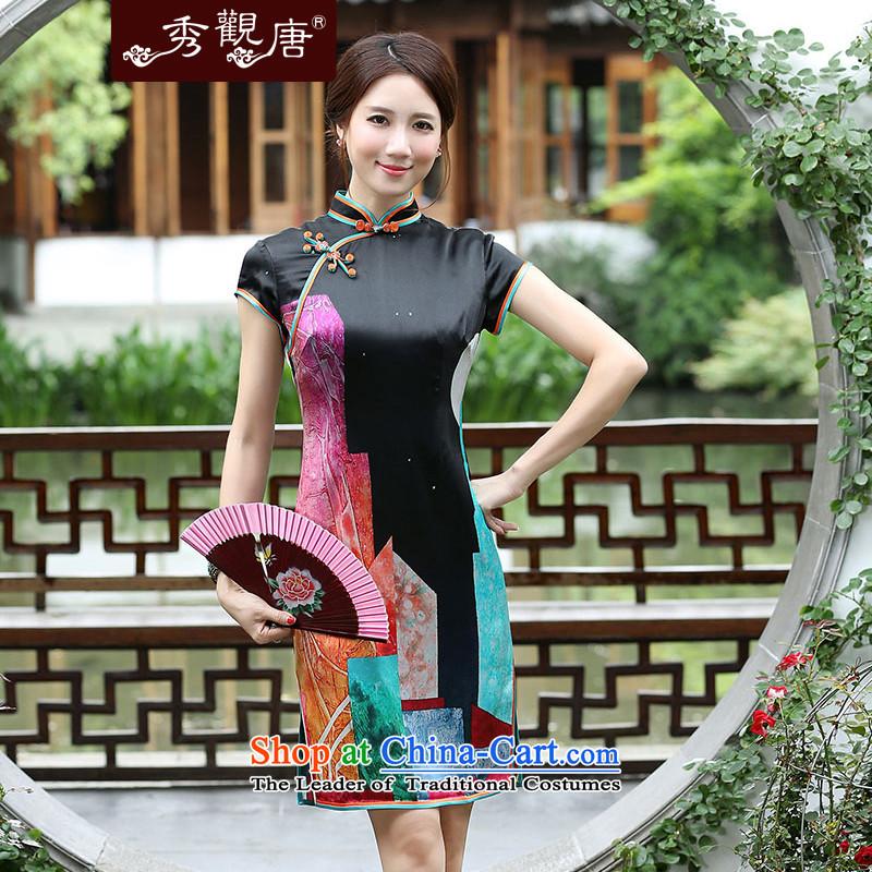 -Sau Kwun Tong- 5 Choi Shek 2015 Summer Silk Cheongsam New Silk Cheongsam QD4543 retro sauna Black燲L
