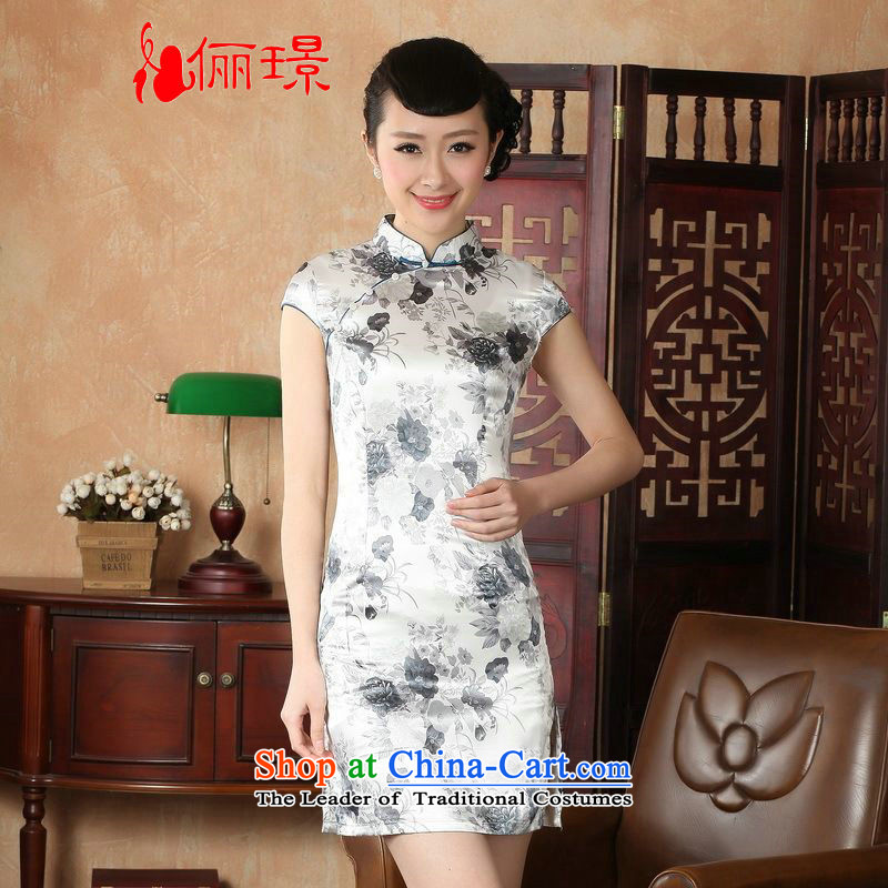 158 Jing qipao summer improved retro Dresses Need collar badges of hand-painted silk cheongsam dress short Chinese improvement of gray L, paras. 110115 Recommendations J5139 catties)