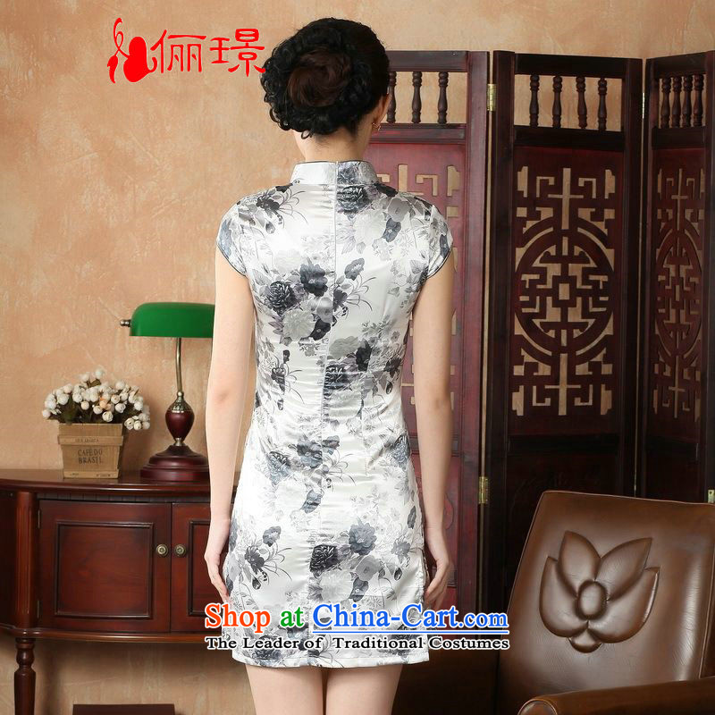 158 Jing qipao summer improved retro Dresses Need collar badges of hand-painted silk cheongsam dress short Chinese improvement of gray L, paras. 110115 Recommendations J5139 catty, Li Jing shopping on the Internet has been pressed.
