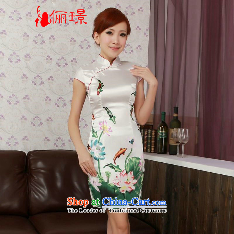 158 Jing qipao summer improved retro Dresses Need collar up silk cheongsam dress Lotus Chinese improved short of??PUERTORRICANS recommendations 85-95 D0183 white coal)
