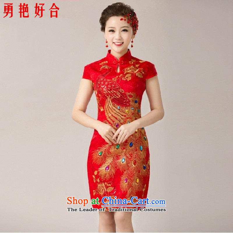 Yong-yeon and 2015 New married women serving the bride dress qipao bows skirt red door service marriage short cheongsam RED�M