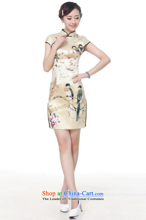 Shanghai, optimization options qipao summer improved retro Dresses Need collar badges of hand-painted silk cheongsam dress short Chinese improvement)-B GOLDXL recommendations 115-120 catty picture, prices, brand platters! The elections are supplied in the national character of distribution, so action, buy now enjoy more preferential! As soon as possible.