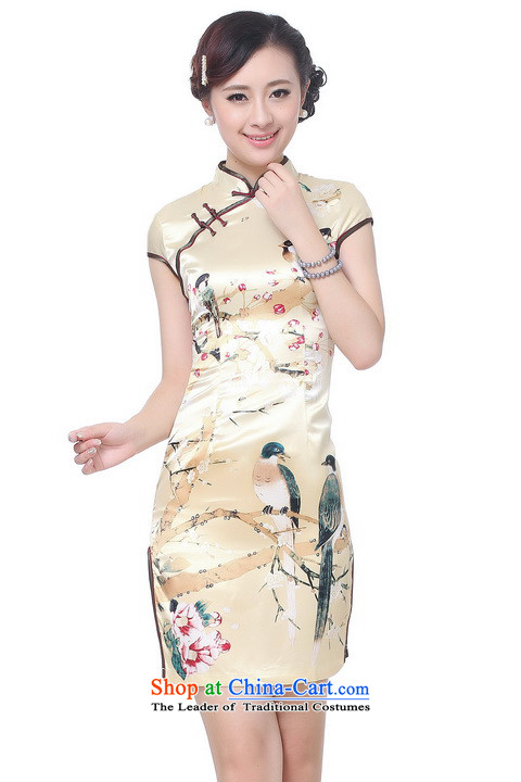 Shanghai, optimization options qipao summer improved retro Dresses Need collar badges of hand-painted silk cheongsam dress short Chinese improvement) -B GOLD XL recommendations 115-120 catty picture, prices, brand platters! The elections are supplied in the national character of distribution, so action, buy now enjoy more preferential! As soon as possible.