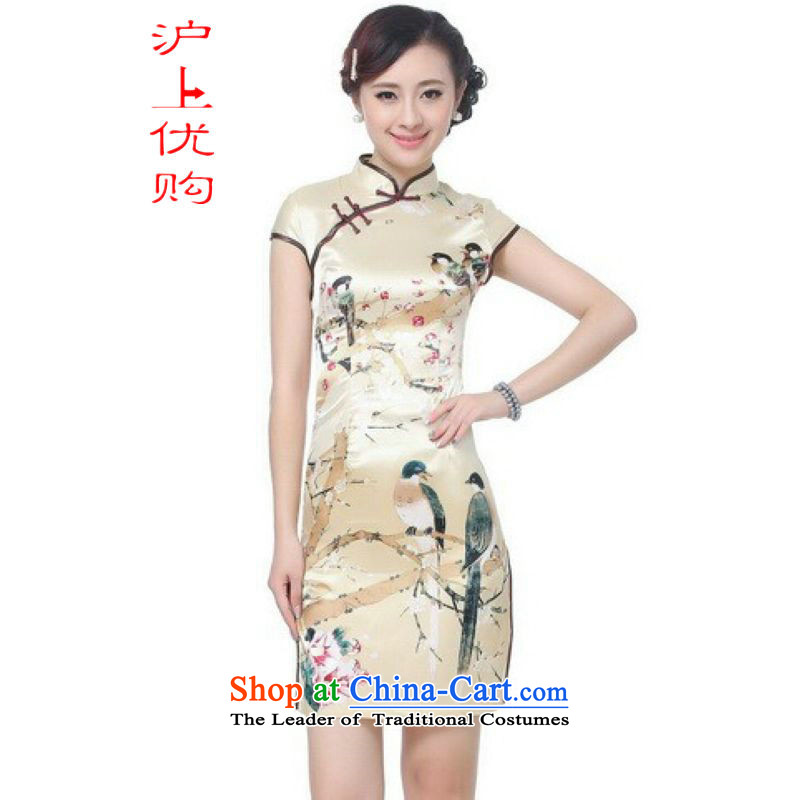 Shanghai, optimization options qipao summer improved retro Dresses Need collar badges of hand-painted silk cheongsam dress short Chinese improvement)?-B GOLD?XL recommendations 115-120 catty