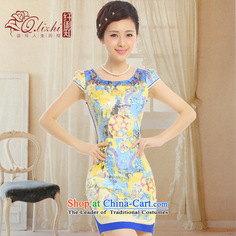 It asked of the former Yugoslavia Li?2015 new summer stylish improved short of cheongsam dress embroidery water drilling disc?Q39818 detained?Blue Wong Yuk-?S