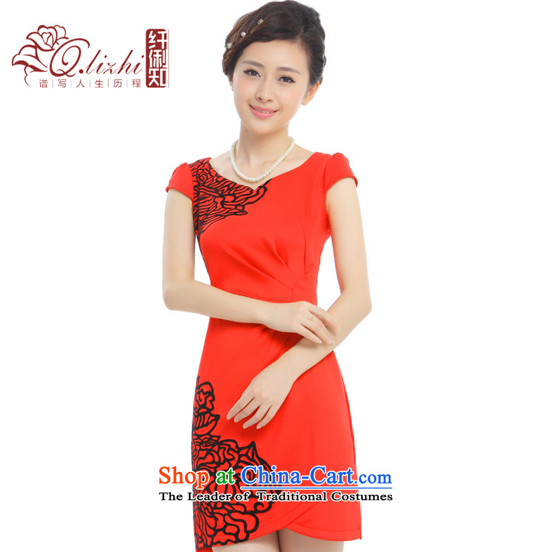 In the former Yugoslavia will know Li dumping�2015 Summer New China wind short cheongsam dress retro bride cheongsam dress�Q10A13-75 improved�cinnabar red�XXL