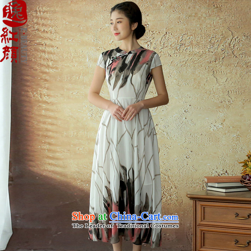 The elections as soon as possible to deal with ice Yat archaeologist makes summer gittoes chiffon Chinese dress sense of fashion in the long skirt suits women L-pre-sale 30 Days