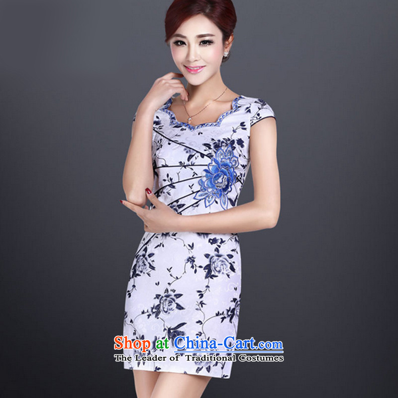 In accordance with the American leyier's summer short-sleeved cheongsam dress short of qipao improved daily cheongsam dress retro Sau San LYE8801 map color?XXL