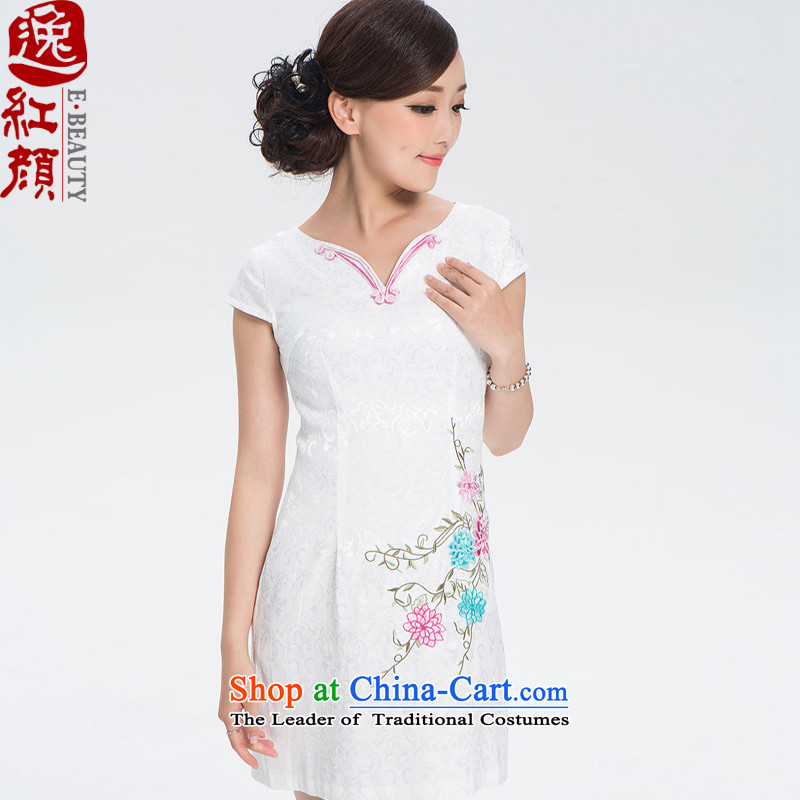 A Pinwheel Without Wind of ground cardamom short, Yat retro cheongsam dress summer girls cheongsam dress improved daily fashion Sau San White聽XL