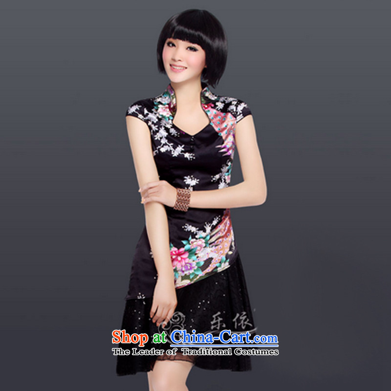 In accordance with the American Ballet's silk gown stylish Sau San short-sleeved qipao improved Chinese qipao LYE1221 retro black?S