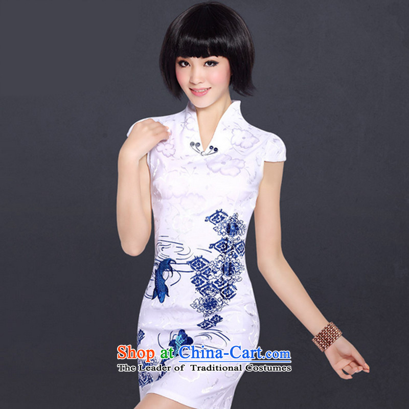 In accordance with the American style qipao improvements, embroidered CHINESE CHEONGSAM women day-to-day summer skirt LYE1289 White XXL