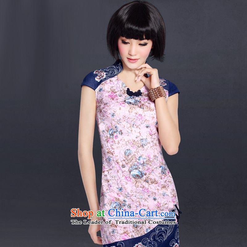 In accordance with the American summer's stylish short-sleeved improved daily qipao stamp ethnic Tang dynasty dress LYE5098 pink�XL