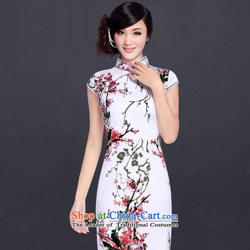 In accordance with the American's retro-clip collar cheongsam dress improved stylish summer Chinese qipao LYE1393 Ms. Sau San elegant White燲XL Phillips-head