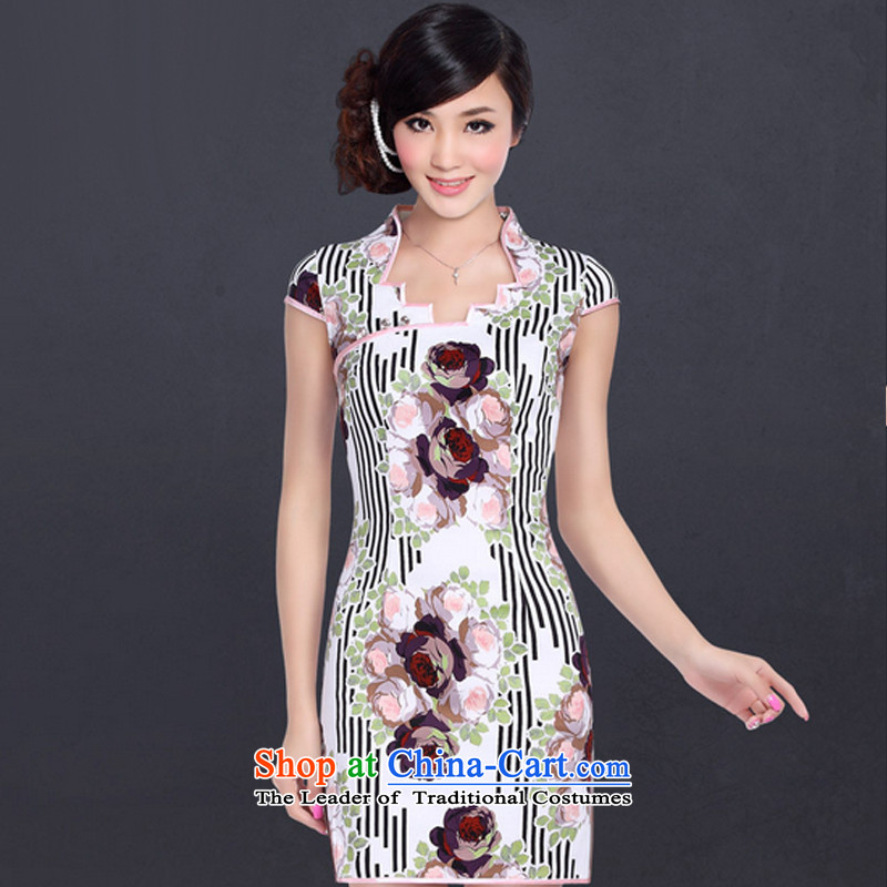 In accordance with the American's landscape paintings short-sleeved qipao qipao improved retro style qipao skirt LYE1313A personality Suit?M