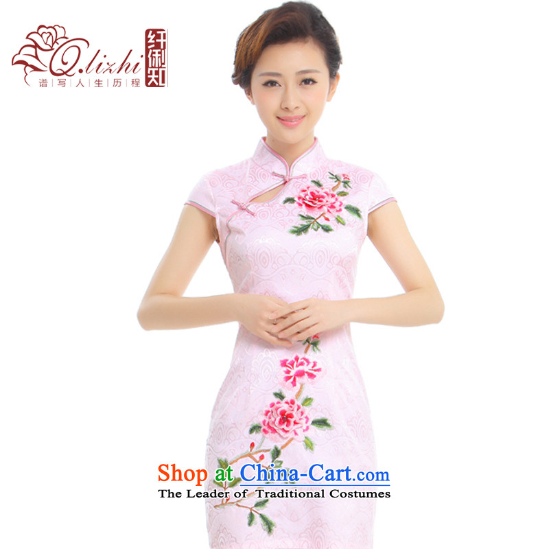 The former Yugoslavia on the Known Li flowers?2015 Summer new improved Stylish retro embroidery China wind cheongsam dress? Q1013-96?hibiscus toner?M