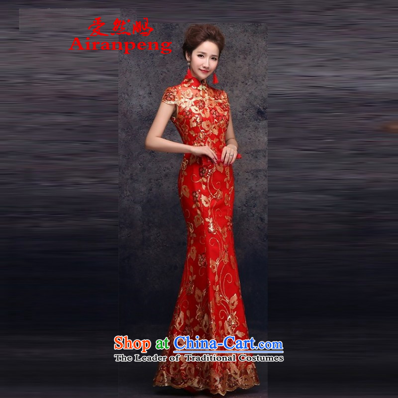 Love So new bride dresses Peng red packets transmitted to retro marriage shoulder length_ Improved qipao suit earrings addition earrings XL can return