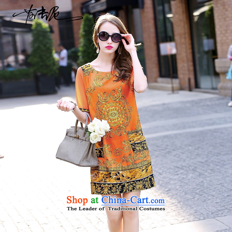 Elizabeth,�15 female silk sauna silk dresses in summer long long skirt orange燣