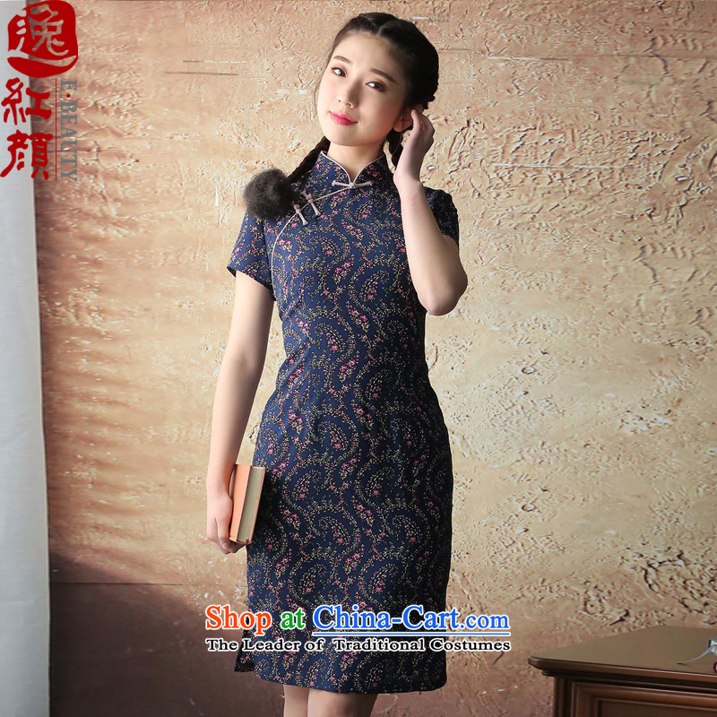 �� Yat lady health book Overgrown Tomb chiffon stamp retro improved cheongsam dress?2015 Summer stylish new blue qipao?XL