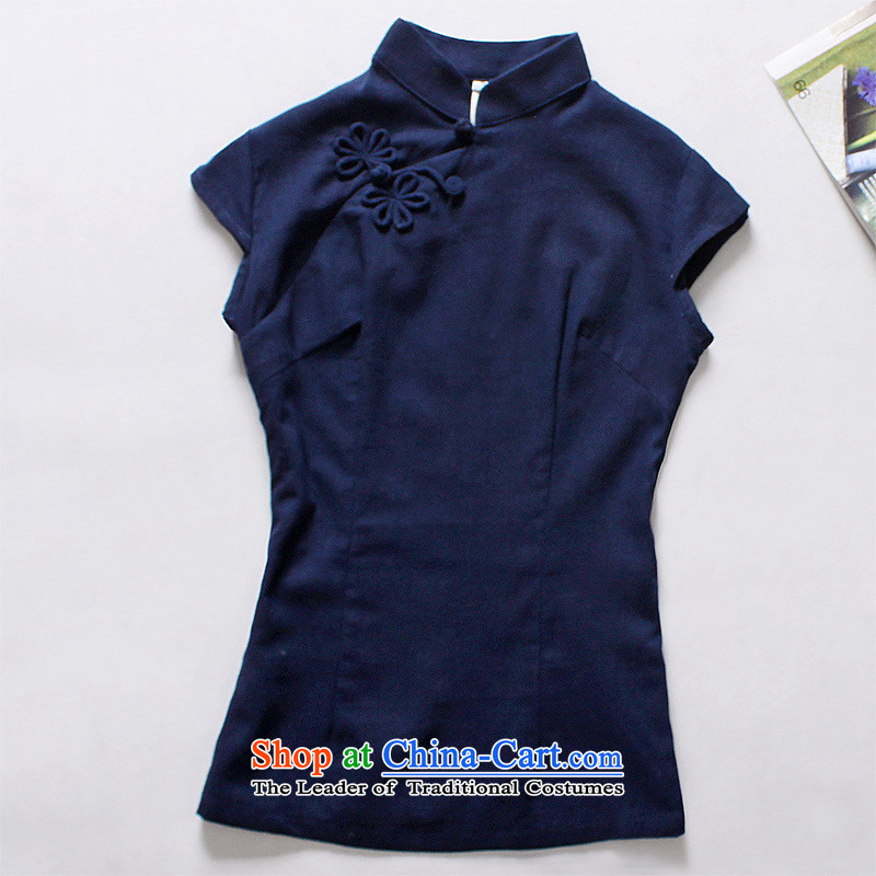 Light Of?2014 a new summer for women cotton linen dresses shirt Chinese Han-Tang dynasty literary ethnic linen Dark Blue?M