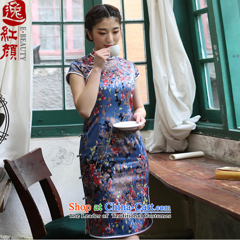 A Pinwheel Without Wind Yat flowers Silk Cheongsam retro 2015 Summer cheongsam dress the new improved daily stylish blue燲L